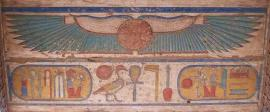Winged sun disk on the c eiling of a doorway of the temple of Ramesses III at Medinet Habu, Western Thebes (photo by Rozenn Bailleul- LeSuer)