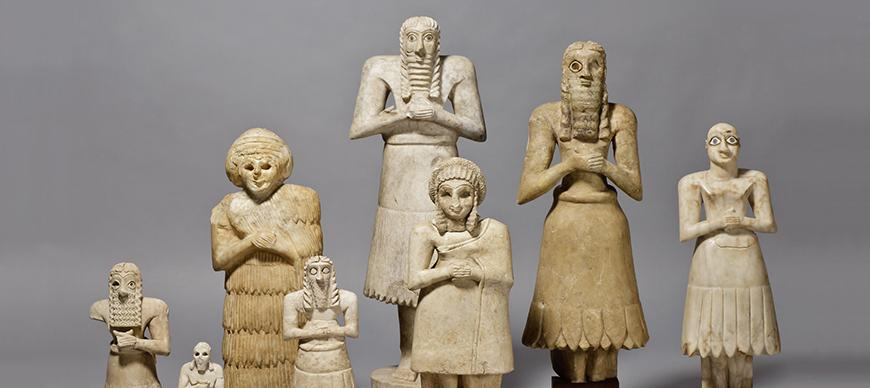 Male and Female Statues. Gypsum. Early Dynastic Period (ca 2750 - 2500 BC). Iraq, Diyala Region.