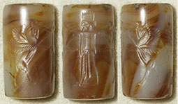 Agate cylinder seal (three images) with modern impression, Persian period (550 – 330 BC), OIM A96000