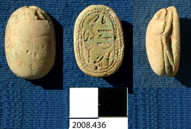 Scarab inscribed with name and rank of Egyptian officer, from Al-Widay I, tomb X-h (2008.436, photo #7285).