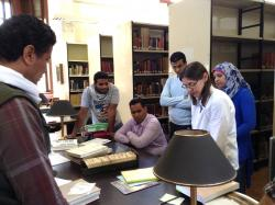 JJ Shirley and ARCE Epigraphy Field School library orientation, Feb. 23, 2015.  Photo by Marie Bryan