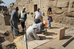 Hiroko Kariya and Chicago House team installing handicapped access ramp in Luxor Temple Open Air Museum.  Photo by Ray Johnson