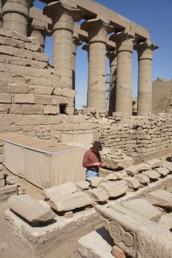 Luxor Temple.  Jay entering location data on blockyard database.  Photo by Ray Johnson