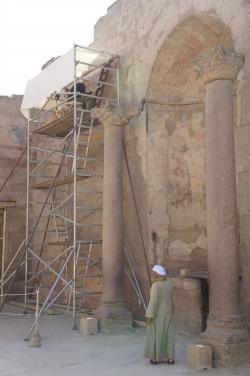 Luxor Temple.  Krisztián penciling Roman frescos, Feb. 23, 2015.  Photo by Ray Johnson