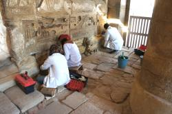 Conservation Students at work in the North Annex of the Small Temple, Medinet Habu.  Photo by Ray Johnson