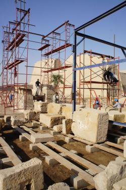 Medinet Habu.  Domitian Gate Reconstruction 2014.  Photo by Ray Johnson