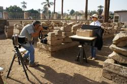 Yarko Kobylecky and Ellie Smith photographing fragments in the Luxor Temple blockyard.  Photo by Ray Johnson