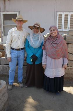 Luxor Temple, closing the site at the end of the season.  Jay Heidel, Inspector Samia and friend, April 10, 2015.  Photo by Ray Johnson