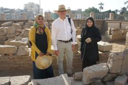 Jay Heidel with Inspectors Nadia and Marwan in the blockyard, Luxor Temple.  Photo by Ray Johnson