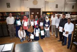 Medinet Habu conservation students graduation in the Chicago House library, March 14th, 2015.  Photo by Frank Helmholz