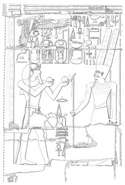 Medinet Habu IX, Pl. 63A, showing Thutmose III offering jars of water to Amun-Re. Drawing by Jay Heidel, Ray Johnson, Susan Osgood, and William Schenck