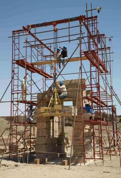 Raising the south lintel of the Domitian Gate at Medinet Habu, March 22nd, 2015.  Photo by Yarko Kobylecky
