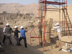 Chicago House head conservator Lotfi Hassan and conservation team repairing a block from the south well of Ramesses III, Medinet Habu.  Photo by Nahed Samir