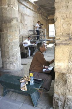Chicago House senior artist Sue Osgood, Egyptologist Tina di Cerbo, and senior epigrapher Brett McClain recording wall decoration in the 18th Dynasty Temple, Medinet Habu.  Photo by Ray Johnson
