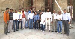 Medinet Habu review visit, March 22nd, 2015.  Minister el-Damati (center) and MSA conservators.  Photo by Yarko Kobylecky