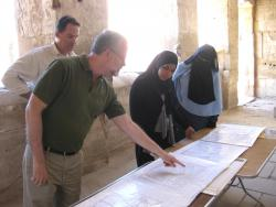 Ray, Brett, and Inspectors Fatma and Ghada reviewing drawings for Medinet Habu X, Nov. 22, 2014.  Photo by Margaret De Jong