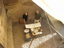 Ray Johnson and Krisztián Vértes finalizing a drawing at Medinet Habu.  Photo by Margaret De Jong