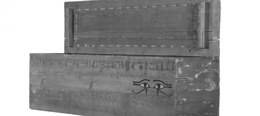 Fig. 1. The coffin of the commander and scribe of the army troops Ipi-ha-ishutef, First Intermediate Period (ca. 2064 BC), Saqqara, Egypt. OIM E12072.