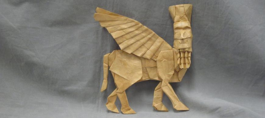 "A Paper ""Fold-a-Bull"" inspired by the Lamassu at the OI"