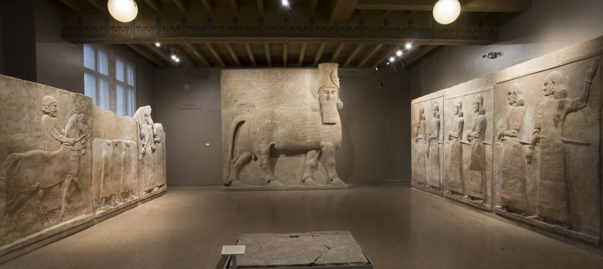 The Yelda Khorsabad Court featuring the colossal Lamassu sculptural reliefs from Sargon II's palace, around 705 BC