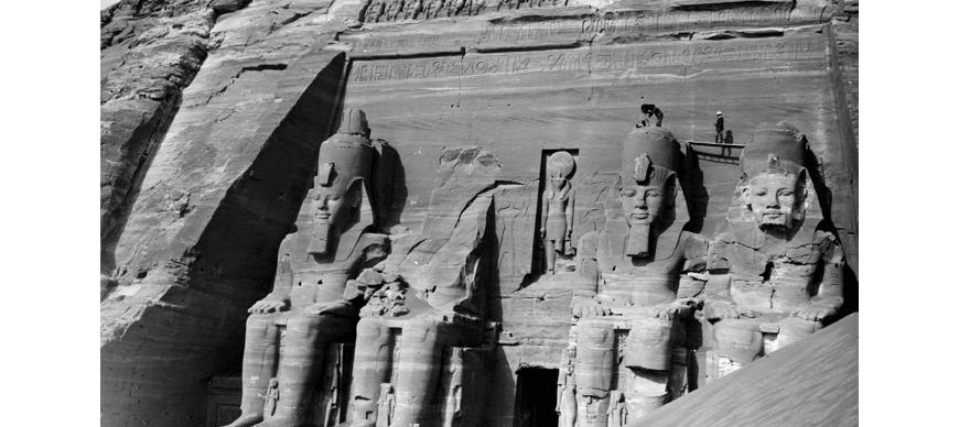 OIM P2380 Abu Simbel, Egypt. The facade of the great temple as it was being photographed