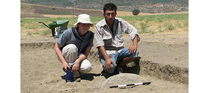 The discovery of the Katamuwa stele at Zincirli, Turkey, 2008. Photo by E. Struble.