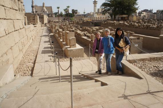 Luxor Temple.  Pia, Ellie, and Hiroko standing on wheelchair and baby-carriage ramp, Luxor Temple Open Air Museum.  Photo by Ray Johnson