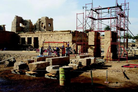 Restoration of the Domitian Gate, Medinet Habu.  Photo by Ray Johnson