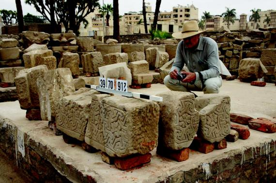Jay Heidel recording blocks from the Church of St. Thecla, Luxor Temple.  Photo by Ray Johnson