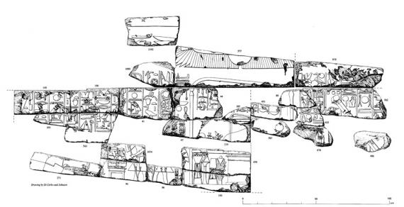 OIP 112, Pl. 88.  Reconstructed fragment group, Colonnade Hall, Luxor Temple.  Drawing by Tina Di Cerbo and Ray Johnson