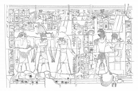 Medinet Habu IX, Plate 11.  Thutmose III led by Montu-Re and Atum into the presence of Amun.  Drawing by Sue Osgood