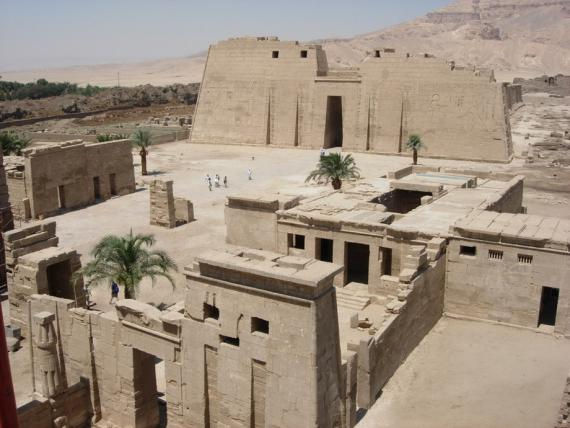 The Temple Enclosure of Medinet Habu with the 18th Dynasty Amun Temple in the foreground.  Photo by Ray Johnson