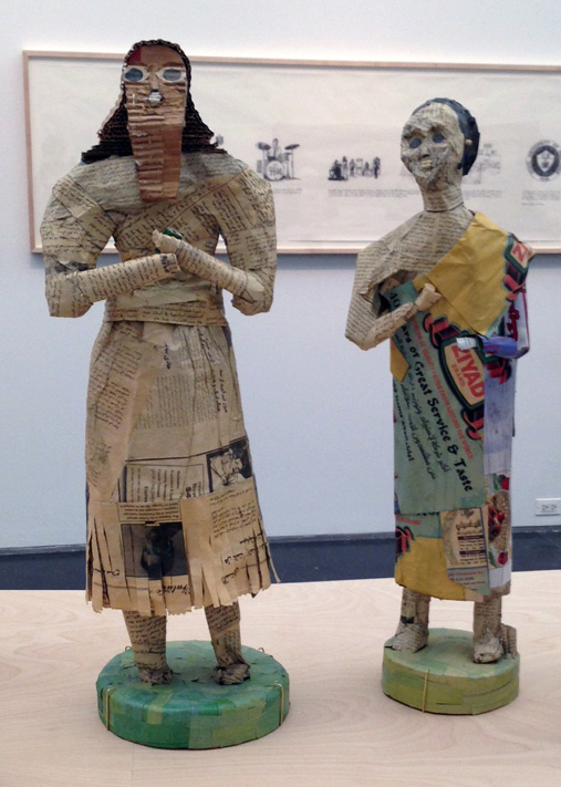 Two of the Diyala statues reconstructed by Rakowitz