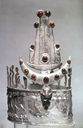 Noubadian rulers wore great silver crowns like this one found at Ballana. It was fashioned in the old Meroitic style but mounted with jewels like the crowns of Byzantine kings.